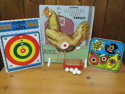Vintage Mother Hen Metal Target With Accessories And Bullseye And Crack Shot Targets