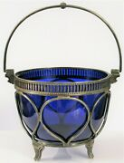 Antique Silver Plated Blue Cobalt Glass Bowl Possibly Pairpoint Beautiful