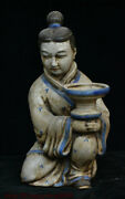 Collect Chinese Crackle Glaze Porcelain People Candle Holder Candlestick Statue