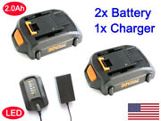 2x 20v Lithium Battery For Worx Wa3520 Wa3525 3512 Wg163 Wg151s Wg155s + Charger