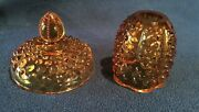 Pair Of Vintage Fenton Amber Glass Hobnail Dish/lamp Replacement Lids/tops