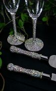 Wedding Flutes Crystal And Cake Server Set Champagne Glasses Personalized