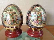 Satsumamatched Pair 6 Eggs Hand Painted Ceramic Gold Gilded Cloisonne Geisha