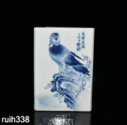 Chinese Republic Of China Blue And White Eagle Square Pen Container