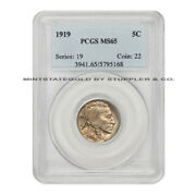 1919 5c Buffalo Nickel Pcgs Ms65 Gem Graded Indian Head Five Cent Coin