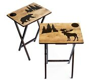Moose And Bear Fold-able Wood Tv Tray Tables - Set Of 2 Or 4 - Made In The Usa