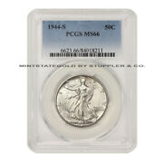 1944-s 50c Silver Walking Liberty Pcgs Ms66 Gem Certified Half Dollar Fifty Cent