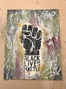 Black Lives Matter Mixed Media Oil Painting 11x14in Canvas Panel Graffiti