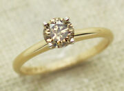 14k Yellow Gold 0.59ct Fancy Brown Diamond Solitaire Engagement Ring Size 6.5