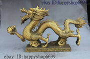 20 Old China Fengshui Royal Brass Wealth Zodiac Walking Dragon Hold Ball Statue