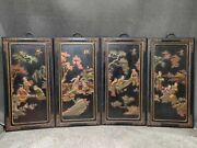 Collect China Wood Lacquerware Fancies Of Men Of Letters Wall Hanging Statue Set