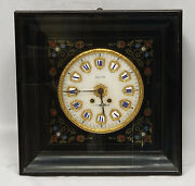 Antique 19c. French Ebonised And Brass Inlaid Striking Wall Clock Montpellier