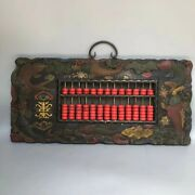 Chinese Wood Lacquerware Turquoise Fish Counting Frame Abacus Wall Hanging Plate