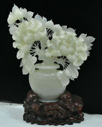16 China Natural Stone Jade Carving Feng Shui Flower Tree Vase Ornament Statue