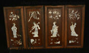 18 Chinese Rosewood Inlay Shell Four Big Beauty Folding Screen Wall Hanging Set