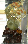 19 Chinese 100 Dongbei Xiuyu Jade Carving Plum Blossom Flower Tree Bird Statue