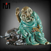 Old Chinese Crackle Glaze Porcelain Ox Bull Oxen Laozi People Litterateur Statue