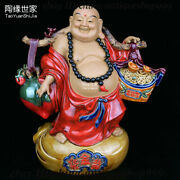 Chinese Temple Color Porcelain Happy Laugh Maitreya Buddha Yuanbao Coins Statue