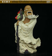 Old China Color Porcelain The God Of Longevity Shou Xing Shou Star People Statue