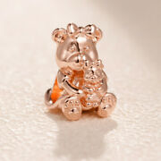 Original 100 S925 Sterling Silver Mother Bear And Her Baby Rose Dora Charms 🕊