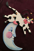 Vintage Folk Art Wooden Pull Toy Cow Jumped Over The Moon Hand Painted Signed