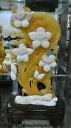 19 Chinese 100 Natural Yellow Jade Carving Feng Shui Flowers And Plants Statue