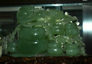 14 Old Chinese 100 Natural Xiuyu Jade Stone Carving Fengshui Gourd Ruyi Statue