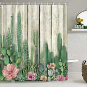 Bathroom Shower Curtains Cactus Wooden Board Plant Flowers 12 Hooks 70x69 Inch