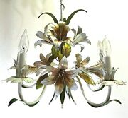 Vintage Mid-century Tole Lily Chandelier
