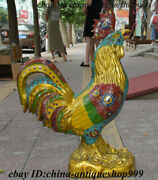 29 Chinese Bronze Cloisonne Enamel Fengshui 12 Zodiac Year Rooster Cock Statue