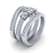 Three Stone Wedding Ring Set Solid White Gold Matching Promise Rings For Women's