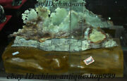 20 Old China Xiuyu Jade Carved Mountain House Tree Picturesque Landscape Statue