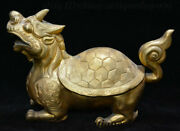 10 Antique Chinese Bronze Gold Dragon Tortoise Loong Turtle God Beast Statue