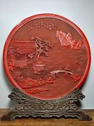 Old China Wood Lacquerware People Ride Horse Emboss Emboss Folding Screen Statue
