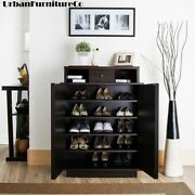 Wood Shoe Cabinet Storage Rack Organizer Entryway Closet Shelves Home Furniture