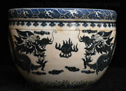 12 Chinese Dynasty Porcelain Hand Drawn Double Dragon Wine Jar Water Vat Crock