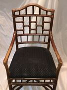 2 Beautiful Bamboo Arm Chairs With Gorgeous Fabric And 1 Antique Rocking Chair