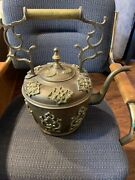 Antique European Large 19andrdquotall Heavy Brass Copper Fireplace Tea Water Kettle