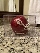 Mini Size Ou Football Helmet Signed By Barry Switzer And Bob Stoops W/case