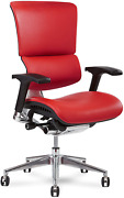 X Chair Office Desk Chair X4 Red Leather Ergonomic Lumbar Support Task Chair B