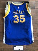 Kevin Durant Signed Warriors Blue Gws Inscribed Jersey Panini Le 35/135
