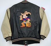 Vintage Mickey Mouse Cowboy Western Leather Jacket L Large Exc 80s 90s Disney