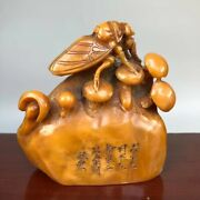 Old China Shoushan Stone Cicada Cicale Mushroom Word Imperial Seal Stamp Signet