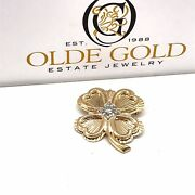 Gold Four Leaf Clover Diamond Pin Brooch - Antique Jewelry - Shamrock