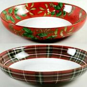 222 Fifth Christmas Foliage Berry Snowman Wexford Red Plaid Serving Bowl Pasta