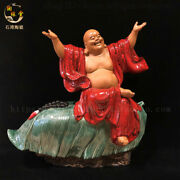 Collect China Temple Colour Porcelain Happy Laugh Maitreya Buddha Wealth Statue