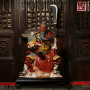 Old China Color Porcelain Guan Gong Sitting In Spring And Autumn Guan Yu Statue