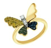 Goldenstar 0.30ct.bluegreenyellow And White Multi Color Diamond Butterfly Ring