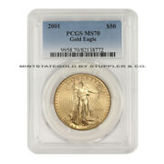 2001 50 Gold Eagle Pcgs Ms70 Flawless American Gold Bullion Coin 1 Ounce 22-kt