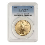 Rare 50 Eagle 2000 Pcgs Ms70 American 22 Kt Gold Bullion Coin Low Pop Of 51